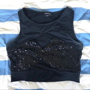 BEBE • Cut Out Sequined Crop Top